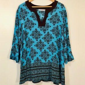 Sag Harbor - Turquoise & Brown Long Sleeve Tunic